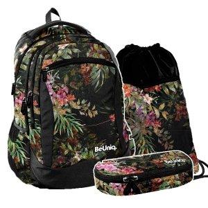 ZESTAW 3 el. Plecak szkolny młodzieżowy kwiaty, FLOWERS Paso (PPRS20-2808SET3CZ)