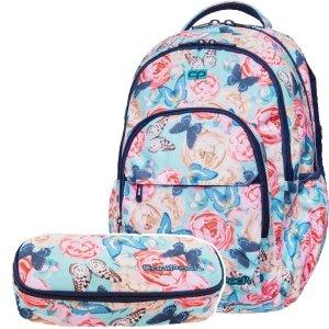 ZESTAW 2 el. Plecak CoolPack BASIC PLUS kwiaty i motyle, BUTTERFLIES (B03127SET2CZ)