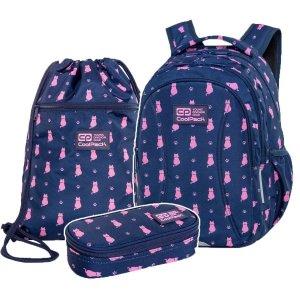 ZESTAW 3 el. Plecak wczesnoszkolny CoolPack JOY S 21L kotki, NAVY KITTY (C48240SET3CZ)