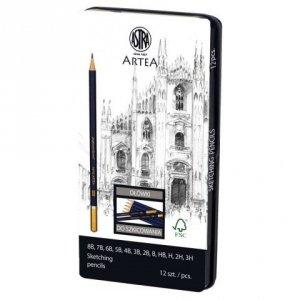 Ołówek Ołówki do szkicowania w metalowym pudełku 12 szt ARTEA Astra (206120013)