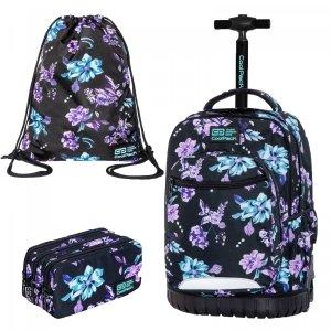 ZESTAW 3 el. Plecak CoolPack SWIFT 29 L  na kółkach w kwiaty na ciemnym tle, VIOLET DREAM (C04198SET3CZ)