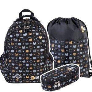ZESTAW 3 el. Plecak szkolny ST.RIGHT złote kotki, GOLDEN CATS BP58 (38190SET3CZ)