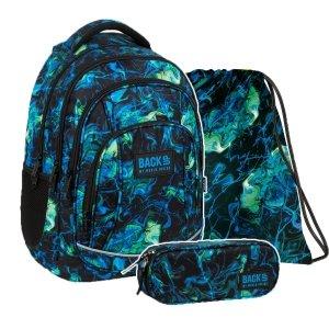 ZESTAW 3 el. Plecak szkolny młodzieżowy BackUP 26 L kolorowe smugi, ULTRA (PLB3A06SET3CZ)