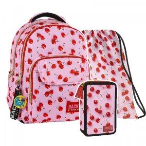 ZESTAW 3 el. Plecak szkolny młodzieżowy BackUP WIŚNIE (PLB2L31SET3CZ)