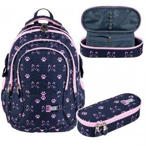 ZESTAW 2 el. Plecak szkolny młodzieżowy ST.RIGHT w kocie łapki, CATS & PAWS BP1 (27354SET2)