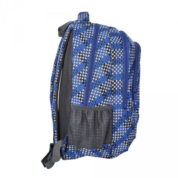 Plecak szkolny młodzieżowy w szaro - niebieskie sześciany (158115C)