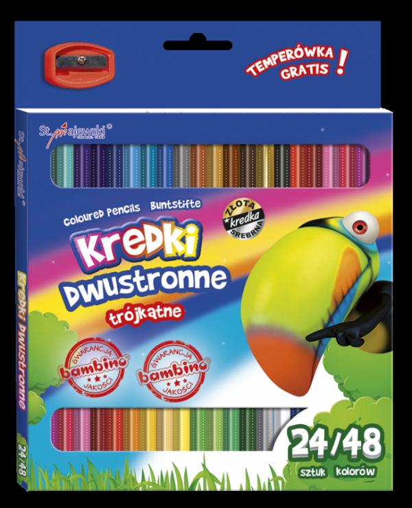 Kredki trójkątne dwustronne, 48 kolorów BAMBINO + temperówka (04964)