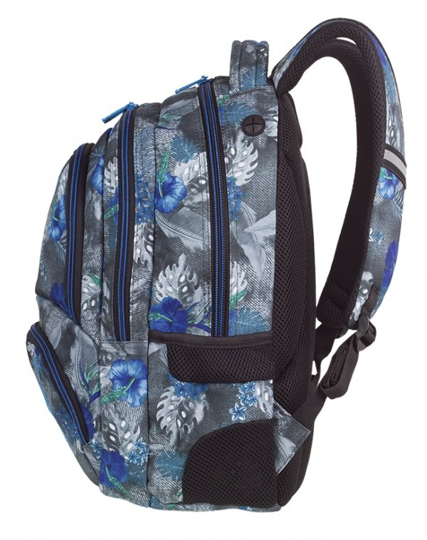 Plecak CoolPack SPINER niebieskie kwiaty na grafitowym tle, BLUE HIBISCUS z pomponem (86841CP)