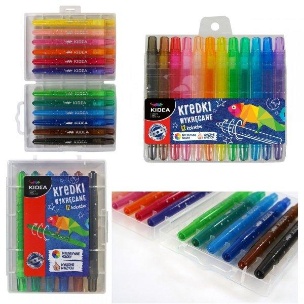 Kredki wykręcane 12 kolorów KIDEA (KWE12KKA)