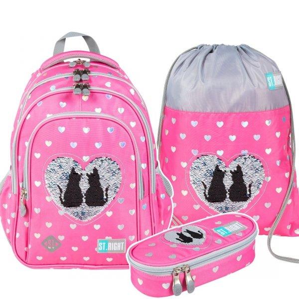 ZESTAW 3 el. Plecak wczesnoszkolny ST.RIGHT w cekinowe koty, SEQUIN CATS BP58 (25879SET3CZ)