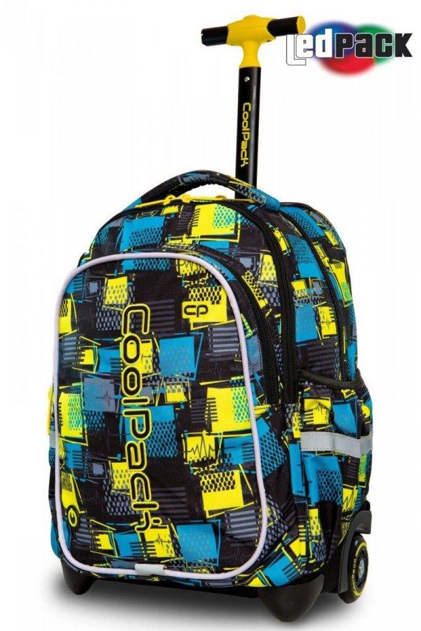 Plecak CoolPack LED JUNIOR na kółkach w niebiesko żółtą kratę SQUARES (97185)