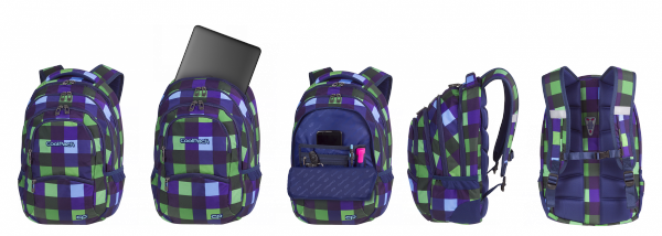 Plecak CoolPack COLLEGE zielono granatowa krata, CRISS CROSS (82065CP)