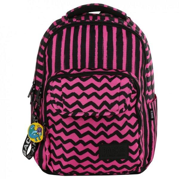 Plecak szkolny młodzieżowy BackUP PASKI RÓŻ (PLB2L07)