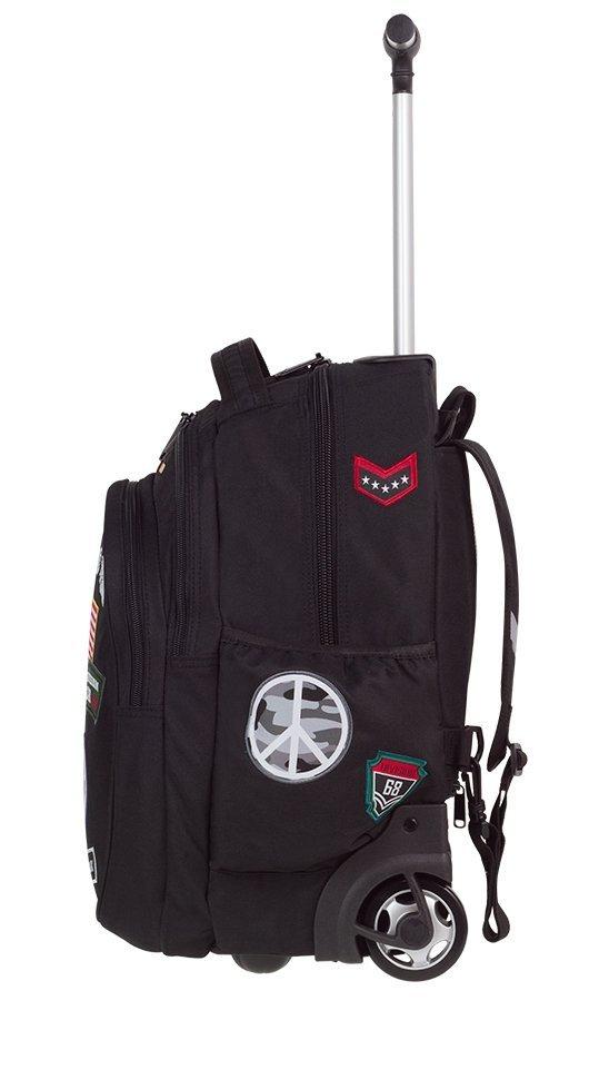 Plecak szkolny młodzieżowy na kółkach COOLPACK JUNIOR szary w znaczki, BADGES GREY (89531CP)