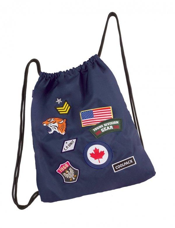 Worek na obuwie, sportowy COOLPACK SPRINT niebieski w znaczki, BADGES NAVY (90711)