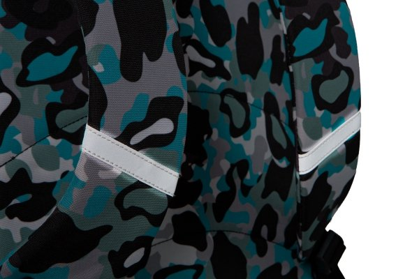 Plecak CoolPack CROSS niebieskie moro w znaczki, CAMO BLUE BADGES (24176)