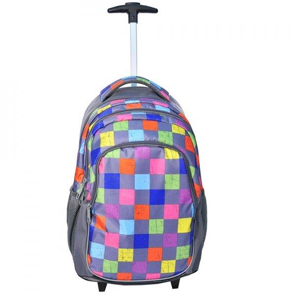 Plecak szkolny Młodzieżowy na kółkach szary w kolorowe szachownicę (81997E)