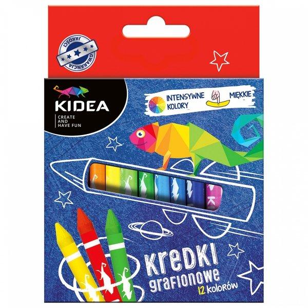 Kredki świecowe grafionowe 12 kolorów KIDEA (KG12KA)