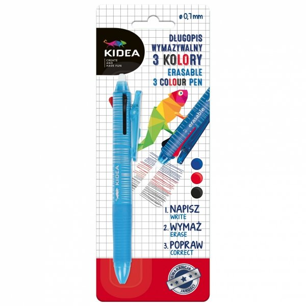 Długopis automatyczny wymazywalny pióro 3 kolory KIDEA (DW3KA)