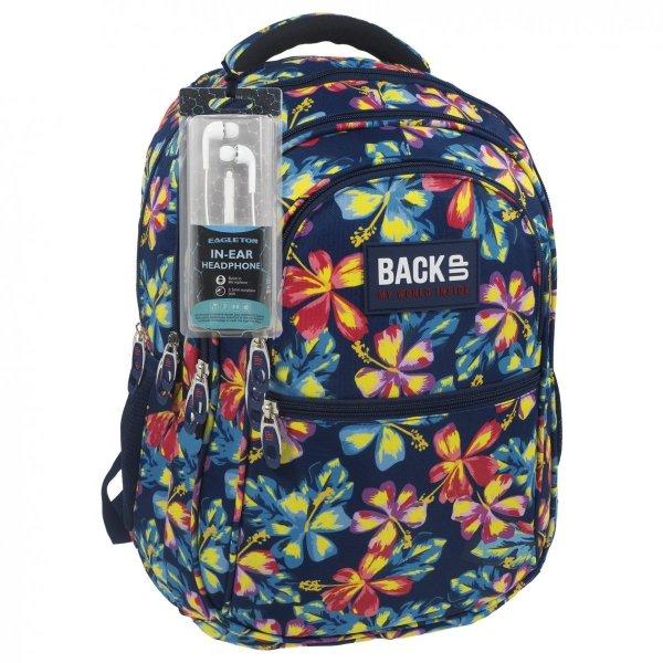 Plecak szkolny młodzieżowy Back UP jesienne kwiaty, AUTUMN FLOWERS + słuchawki (PLB1B2)