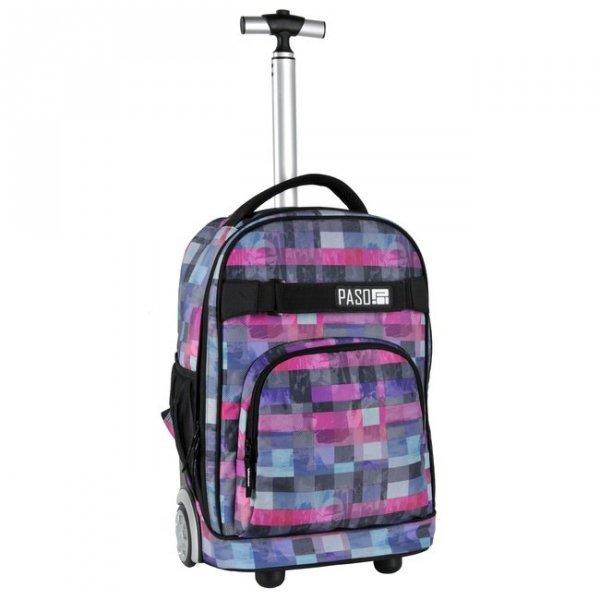 Plecak szkolny, młodzieżowy na kółkach BLOCK, kolorowa kratka PASO (171230UI)