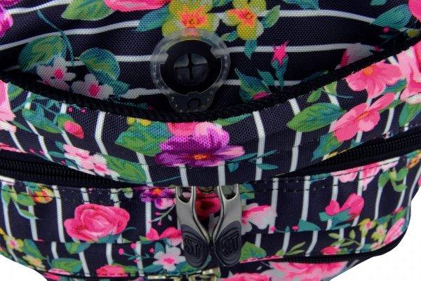 Plecak młodzieżowy ST.RIGHT granatowy w pastelowe róże, LIGHT ROSES BP32 (19397)