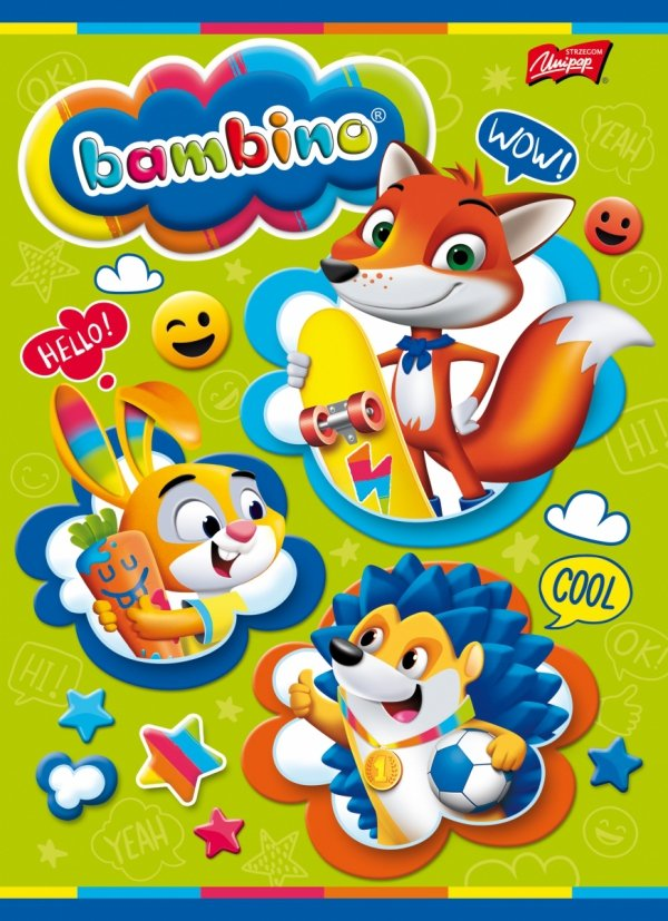 Zeszyt A5 w kolorową linię 16 kartek, BAMBINO mix (01796)