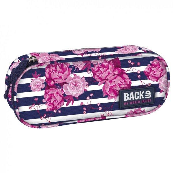 Piórnik szkolny Back UP róże na tle pasów STRIPE ROSES (PB1A34)