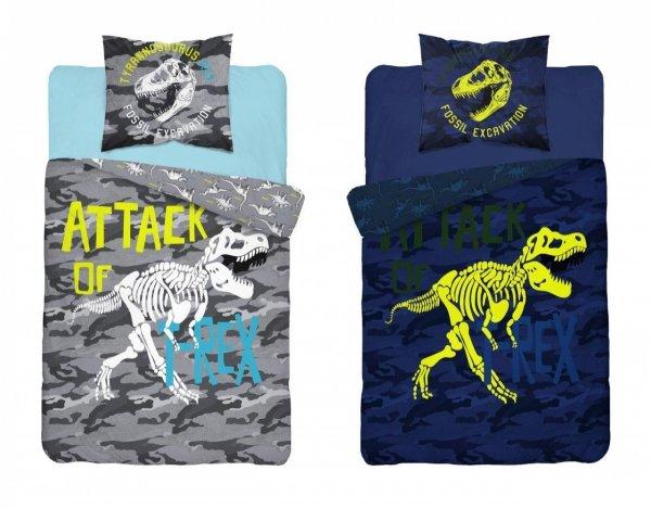 Komplet pościeli pościel świecąca w ciemności DINOSAURS Dinozaury 140 x 200 cm (3042)