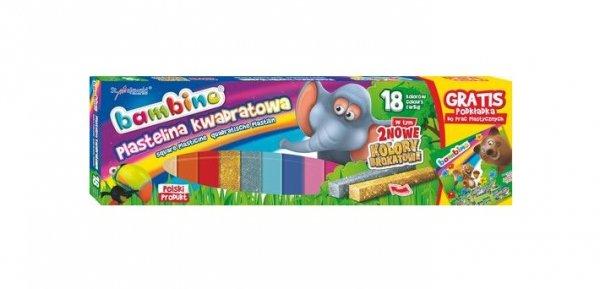 Plastelina kwadratowa BAMBINO 18 kolorów + podkładka (01895)