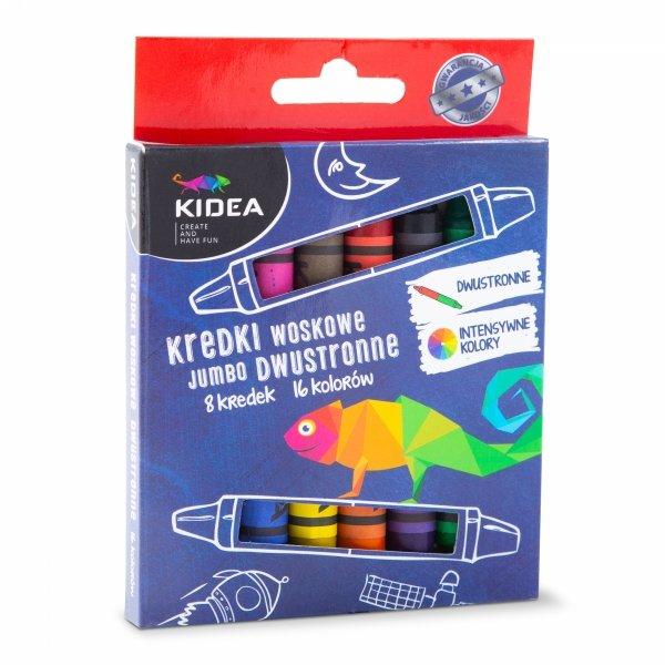 Kredki woskowe dwustronne 16 kolorów JUMBO KIDEA (KWDJ8KA)