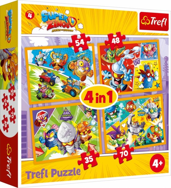 TREFL Puzzle 4 w 1 SUPER ZINGS Bohaterowie serii 4 Magic Box (34343)