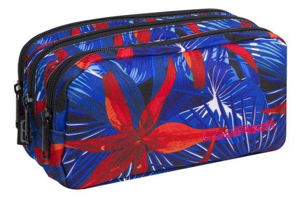 Piórnik CoolPack PRIMUS saszetka trzykomorowa czerwone kawiaty na niebieskim tle, HAWAIAN BLUE (88138CP)