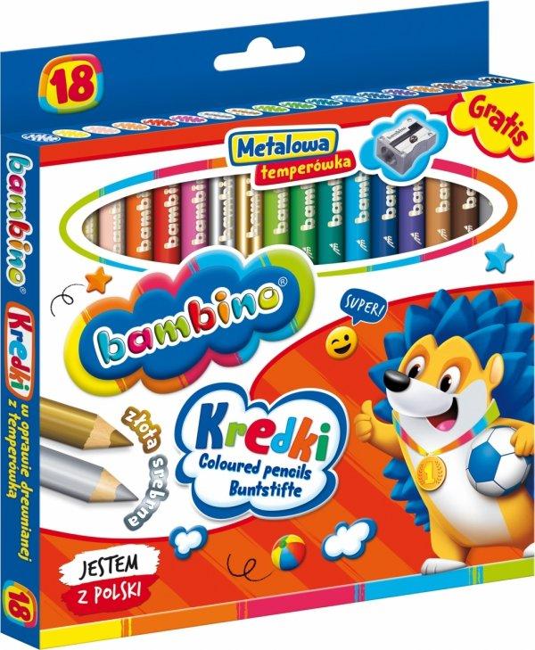 Kredki BAMBINO w oprawie drewnianej 18 kolorów + temperówka (00348)