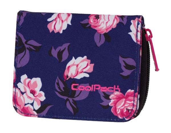Portfel młodzieżowy COOLPACK HAZEL granatowy w pastelowe róże, ROSE GARDEN 811 (75022)
