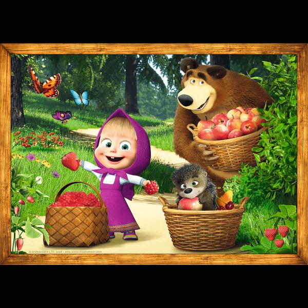TREFL Puzzle 4 w 1 Masza i niedźwiedź, Leśne przygody Maszy (34329)