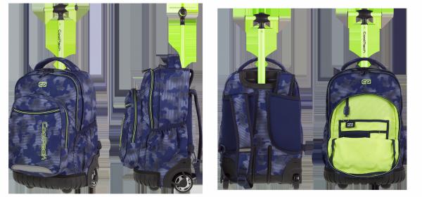 Plecak CoolPack SWIFT  na kółkach niebieski z zielonymi dodatkami, MISTY GREEN + gratis (85899CP)