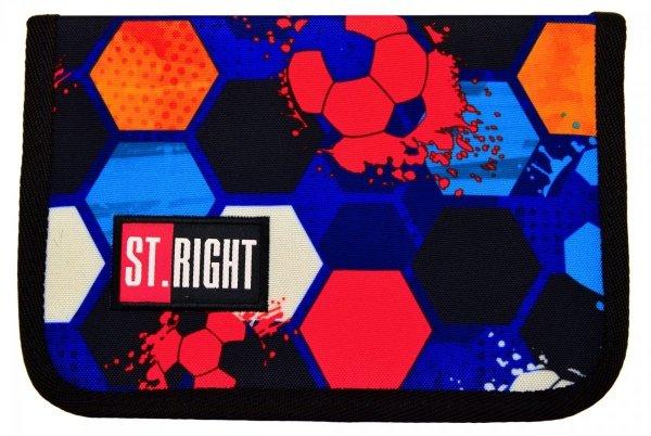 Piórnik St.Right bez wyposażenia garnatowy w piłki, FOOTBALL dwuklapkowy PC03 (16877)