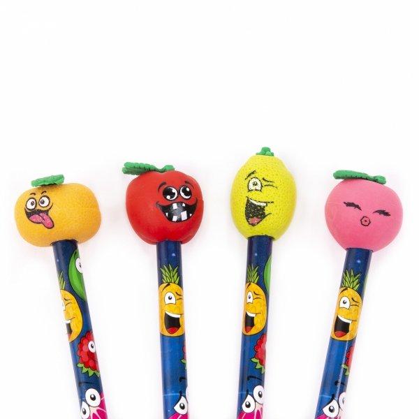 4x Ołówek szkolny z owocową gumką KIDEA HB OWOCE (OOGKA)