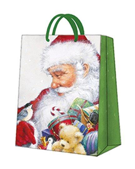 Torebka świąteczna LOVING SANTA rozm M, Paw (AGB028105)