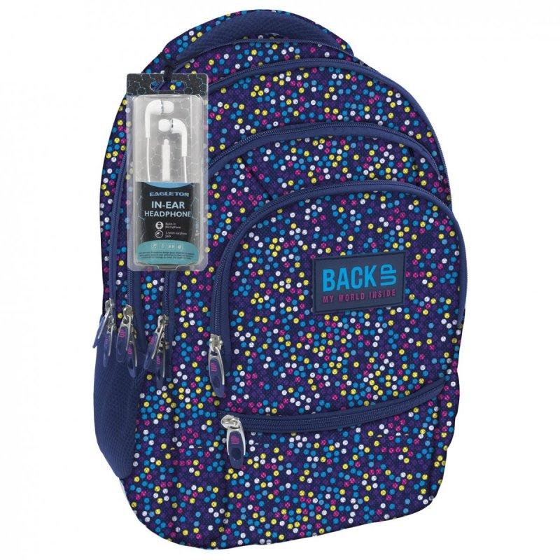 ccfa66b232a21 Plecak szkolny młodzieżowy Back UP kolorowe kropki MULTICOLOR DOTS +  słuchawki (PLB1C3)