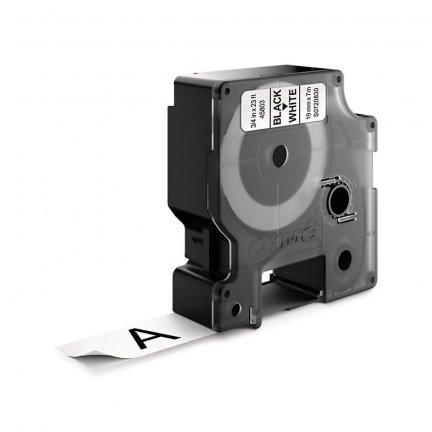 Dymo taśma do drukarek etykiet, D1 45803   19mm x 7m   czarny / biały   bez opak