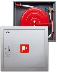 Hydrant wewnętrzny z miejscem na gaśnice pod spodem z wężem półsztywnym 25/30+G zawieszany biały wertykalny
