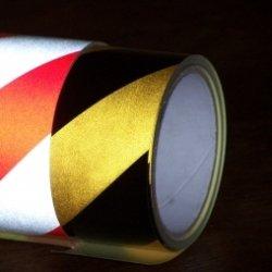 Taśma odblaskowa biało-czerwona 5m/5cm