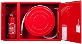 Hydrant wewnętrzny z miejscem na gaśnice obok z wężem półsztywnym 25/20+G zawieszany czerwony (kombi)