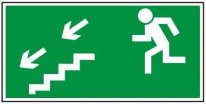 Kierunek do wyjścia drogi ewakuacyjnej schodami w dół na lewo 105 (P.F.)