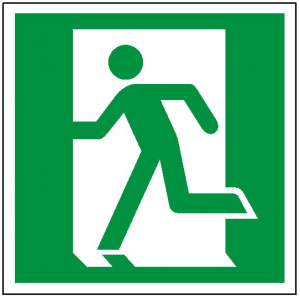Znak wyjście ewakuacyjne lewostronne E01 P.F  150X150
