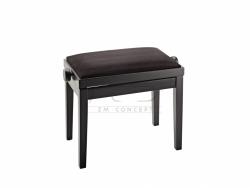 K&M 13900 ława do fortepianu, regulowana, czarny mat, siedzisko velvet czarne
