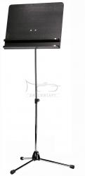 K&M 11832 (118/3) pulpit do nut, statyw niklowany, płyta pełna drewno czarne, blat z podwójną półką