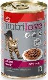 Nutrilove Premium Mięsne kawałki bogate w wołowinę w pysznej galaretce dla kota 12x400g
